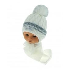 Czapeczka zimowa niemowlęca 42-46 biała z szarym